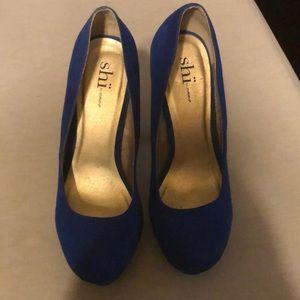 Royal blue suede SHI platform heels